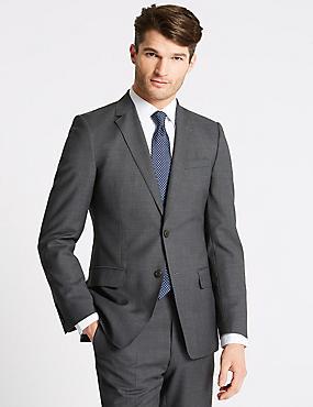 Charcoal Textured Slim Fit Wool Suit, , catlanding