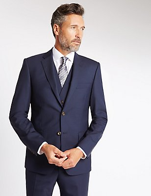 Navy Tailored Fit Wool 3 Piece Suit, , catlanding
