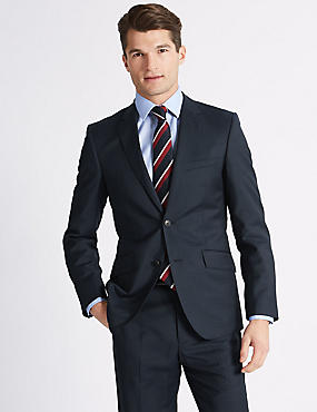 Big & Tall Navy Tailored Fit Wool Suit, , catlanding