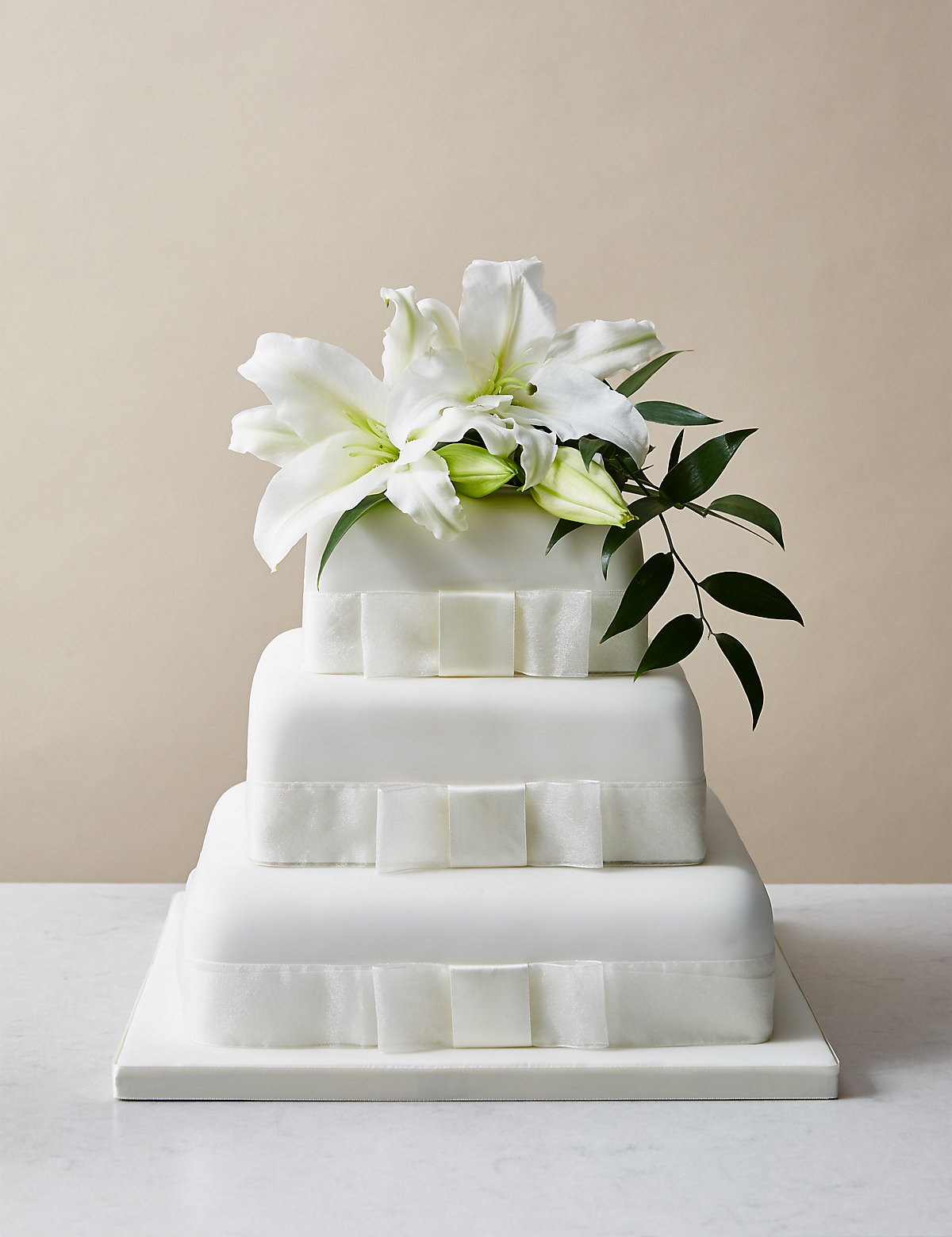 Elegant White Wedding Cake 3 Tier Assorted Gluten Free Cake with Chocolate
