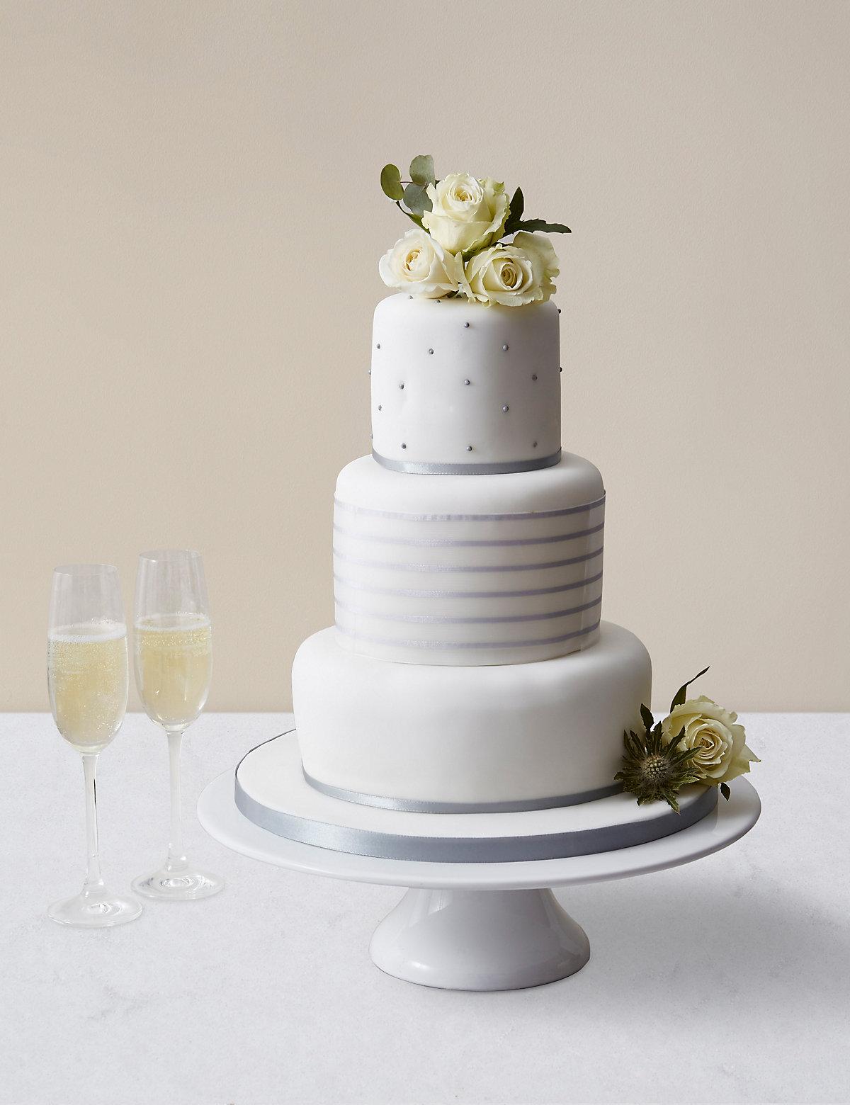 Vogue Wedding Cake White & Silver Icing