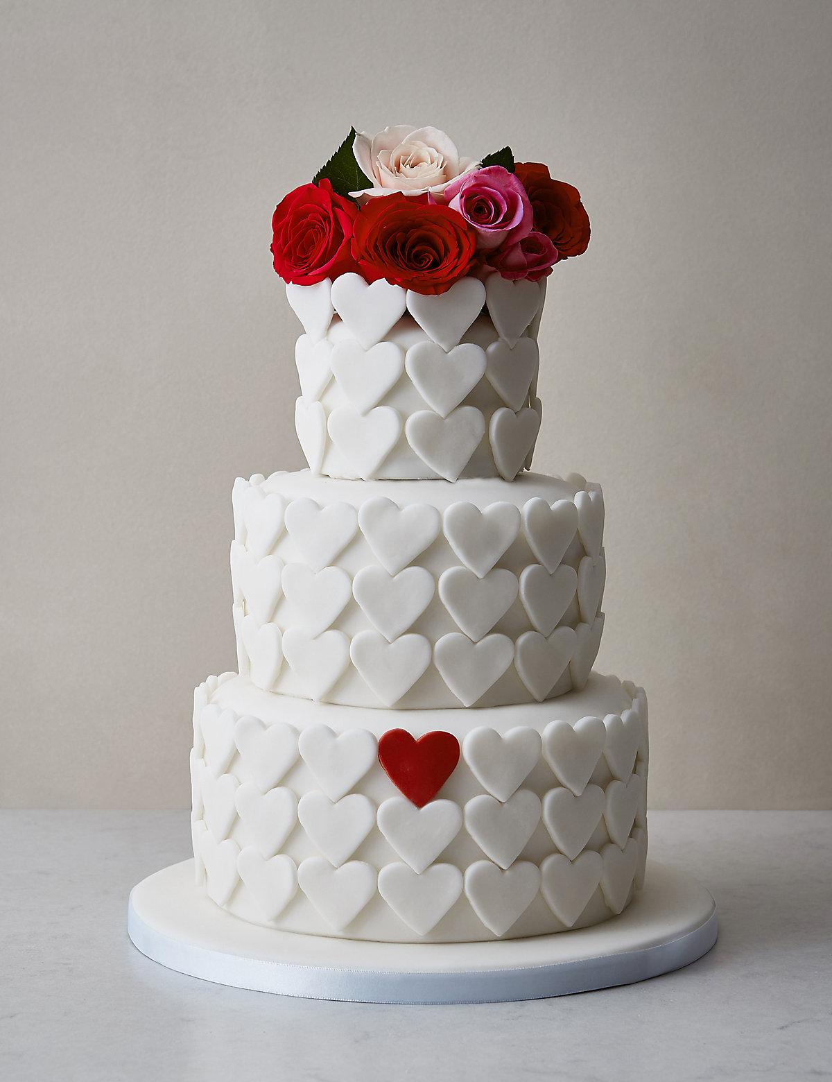 Serene Heart Sponge Wedding Cake