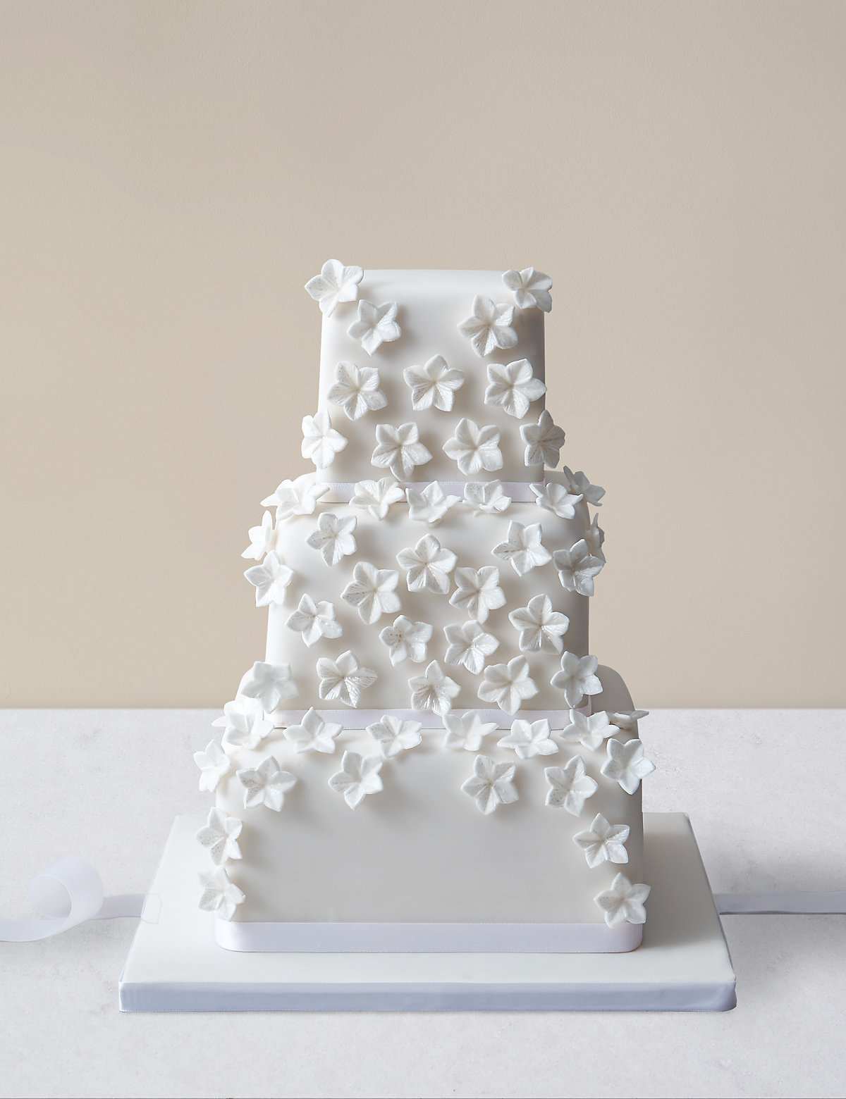 Cascading White Blossom Wedding Cake