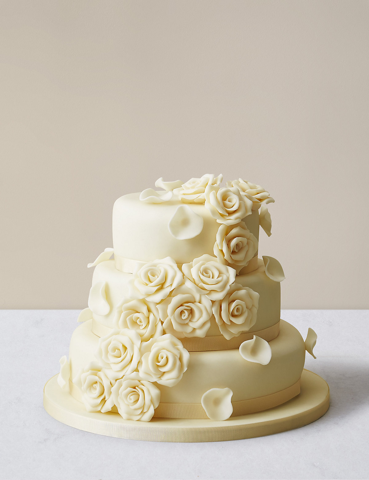 Chocolate Rose Wedding Cake 3 Tier Assorted Cakes White Chocolate Icing