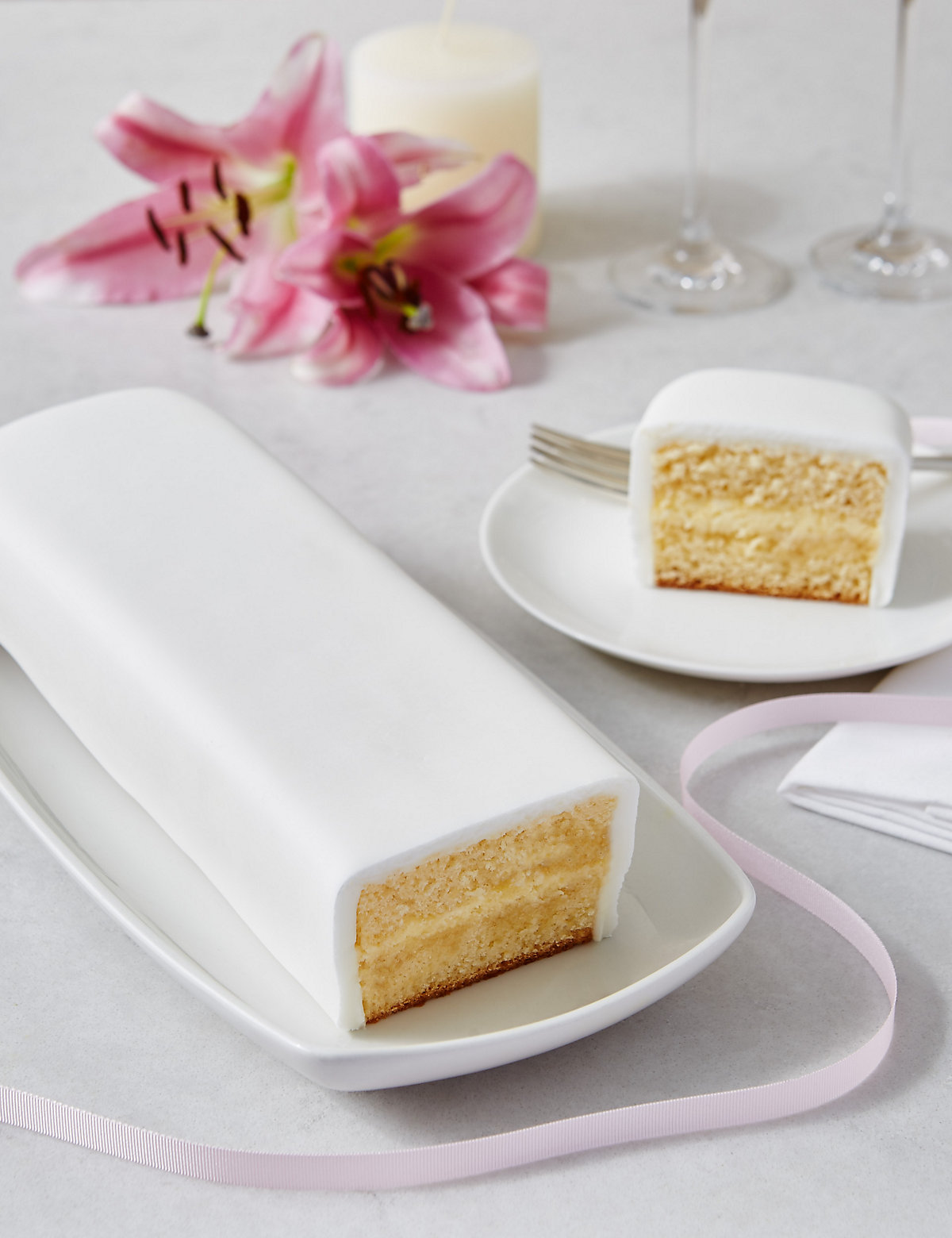 Wedding Cutting Bar Cake Lemon Sponge With White