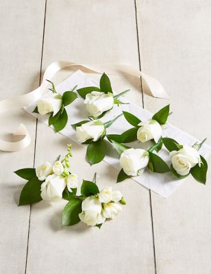 Send flowers online flower delivery cheap flowers white rose freesia buttonhole wedding party package izmirmasajfo