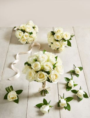 The Collection White Rose - Large Wedding Party Package
