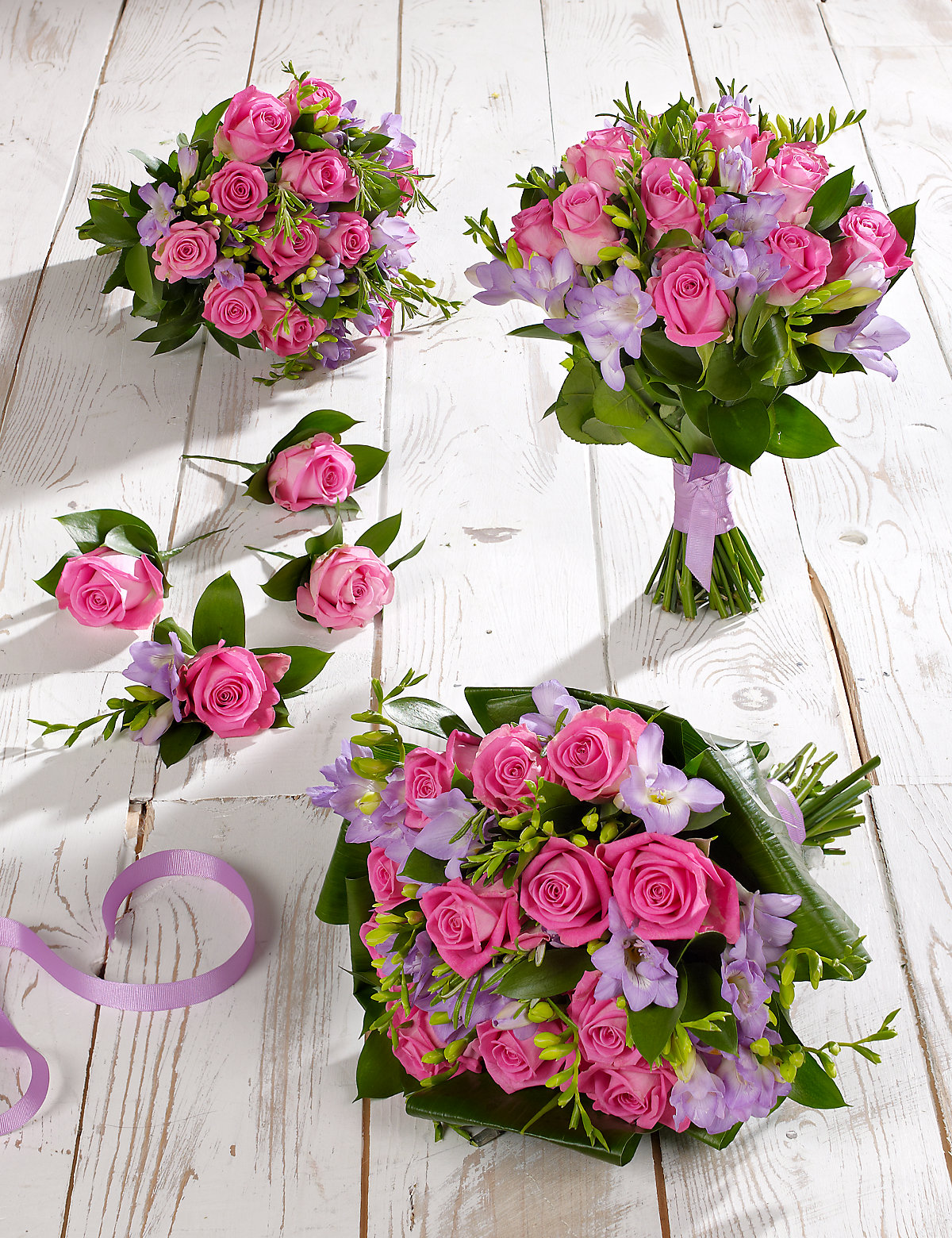 Pink & Lilac Rose & Freesia Wedding Flowers  Collection 2