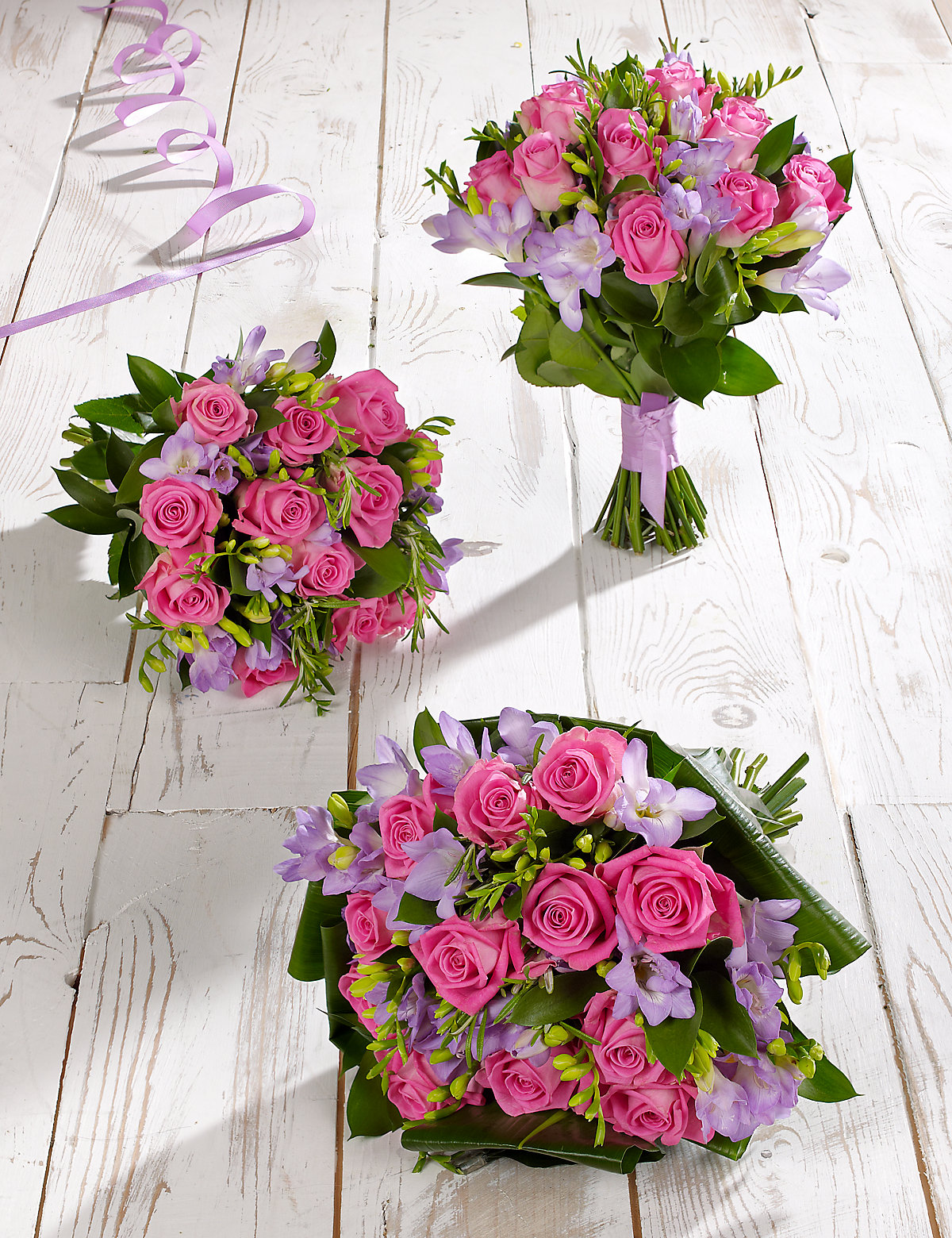 Pink & Lilac Rose & Freesia Wedding Flowers - Collection 1