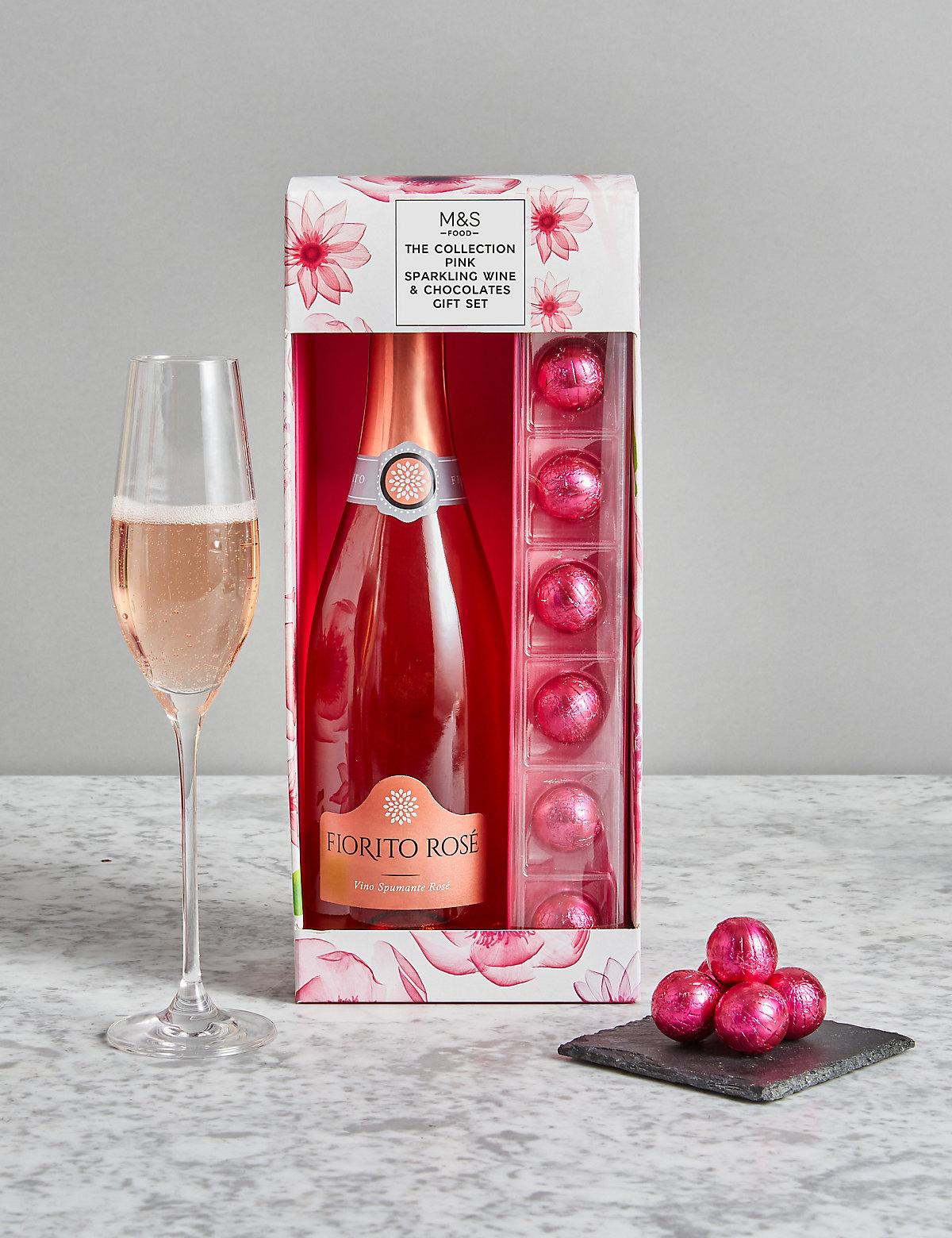Pink Sparkling Wine & Cupcake Chocolates