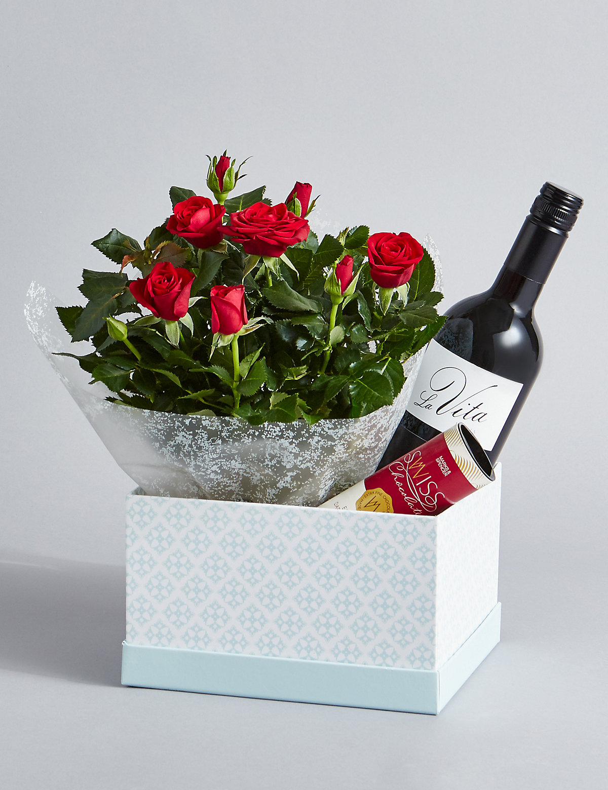 Red Wine Rose Plant & Swiss Chocolates Hamper