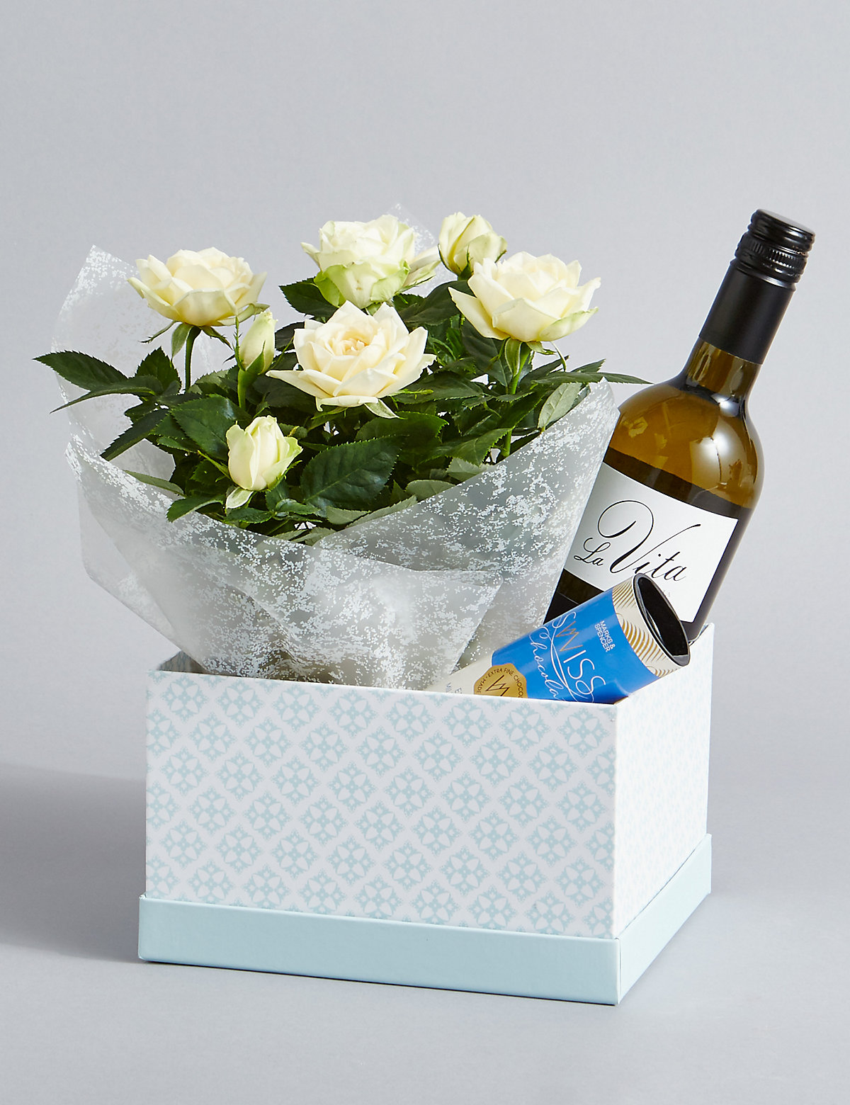 White Wine Rose Plant & Swiss Chocolates Hamper