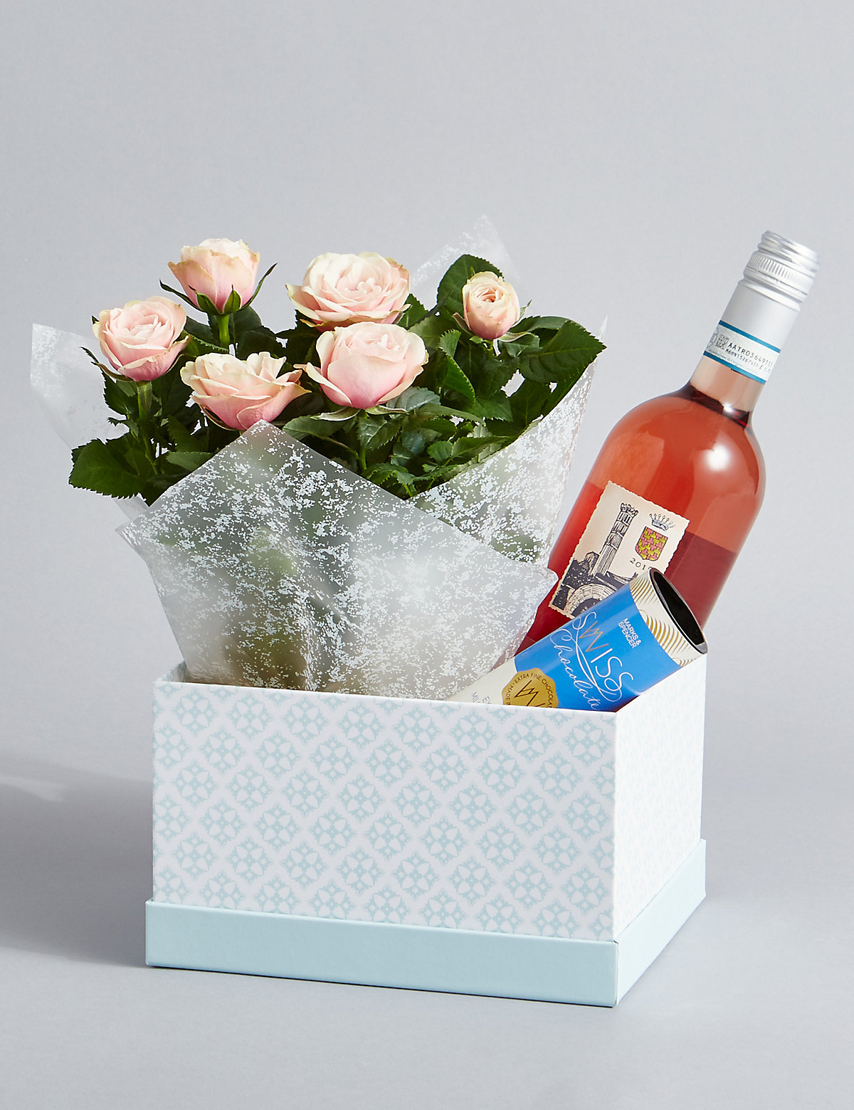 Rose Wine Rose Plant & Swiss Chocolates Hamper