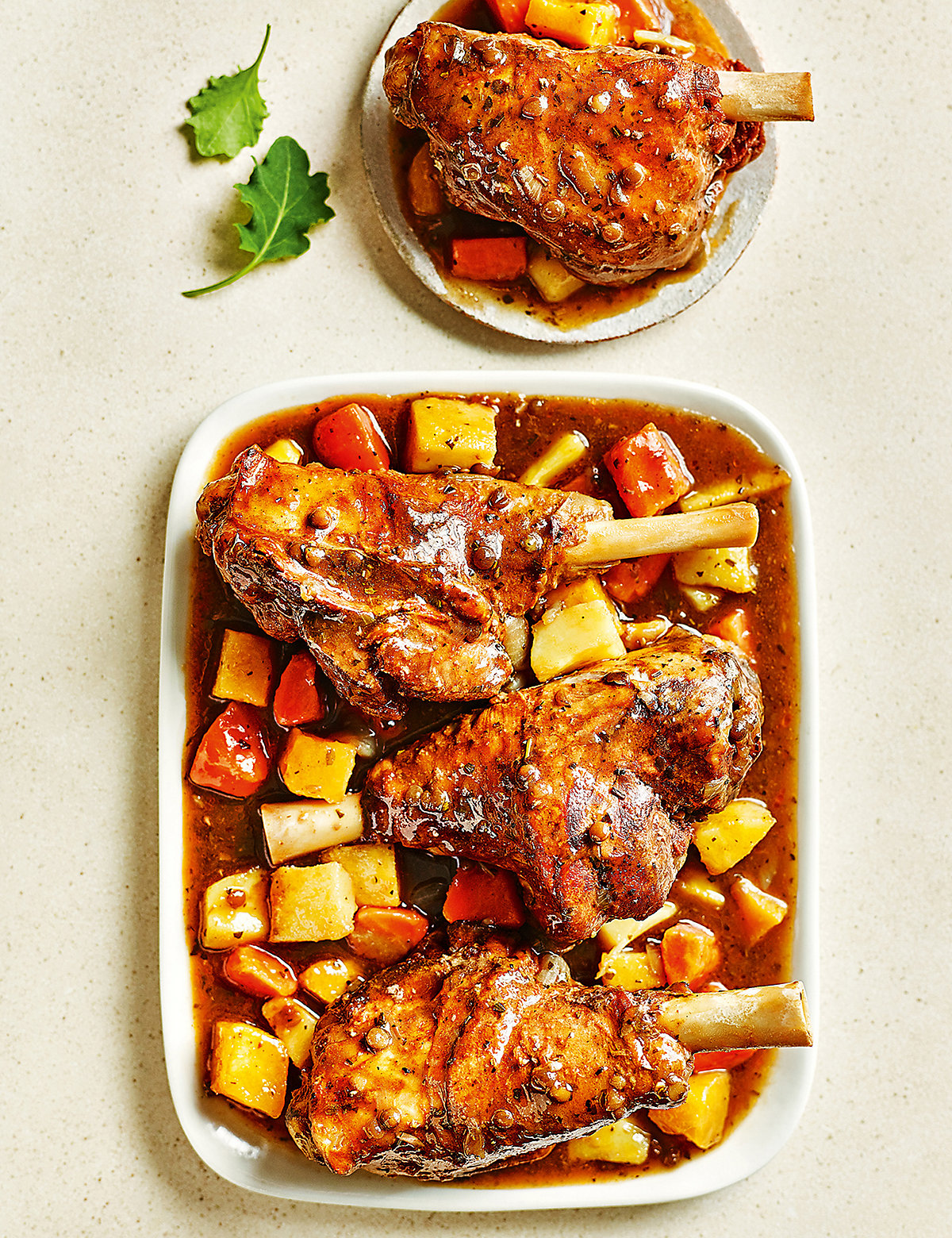 Slow-Cooked Lamb Shanks with Honey-Roast Root Vegetables