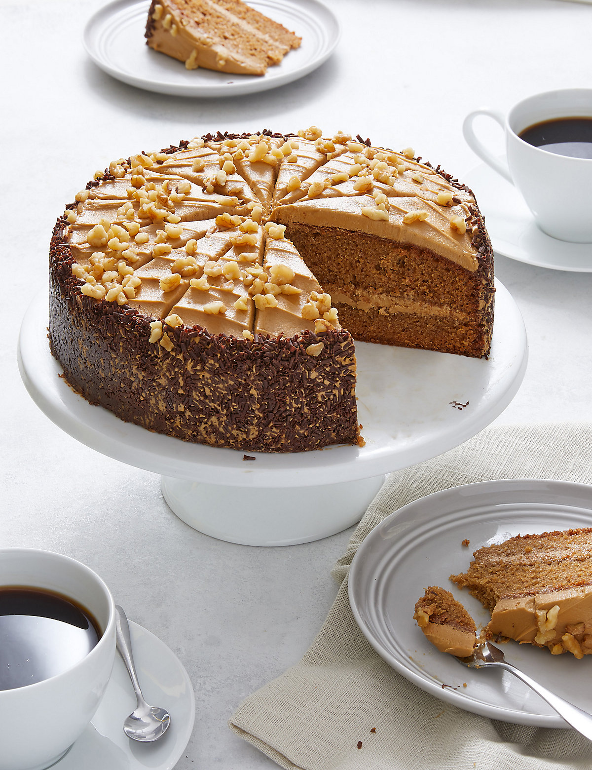 Triple Layer Coffee & Walnut Cake