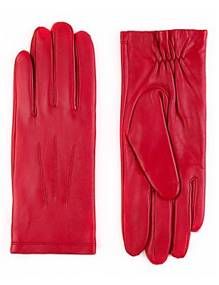 Leather Stitch Detail Gloves, FUCHSIA, catlanding