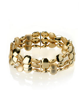 Gold Mix Gold Plated Slinky Nugget Stretch Bracelet