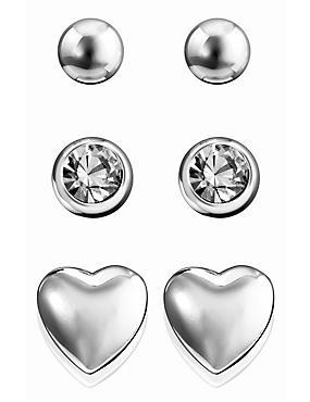 Silver Plated Assorted Stud Trio Earrings Set, , catlanding