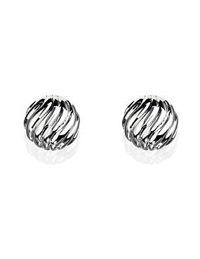 Silver Plated Wave Stud Earrings, , catlanding