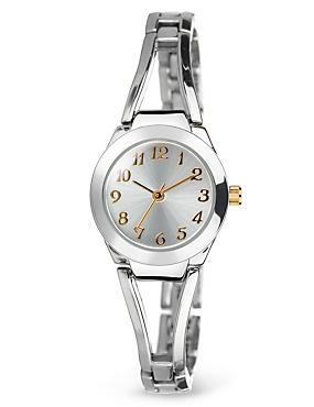 Round Face Open Bar Bracelet Watch, , catlanding
