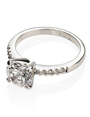 Platinum Plated Diamanté Ring, WHITE MIX, catlanding