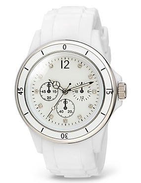 Round Face Diamanté Analogue Sports Watch, WHITE MIX, catlanding