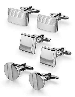 3 Pairs of Assorted Cufflinks Clothing