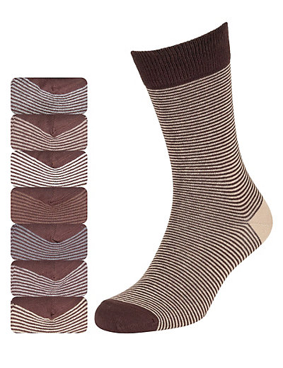 7 Pairs of Cotton Rich Freshfeet™ Feeder Striped Socks with Silver Technology Clothing