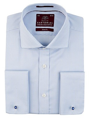Pure Cotton Slim Fit Gingham Checked Shirt, BLUE, catlanding