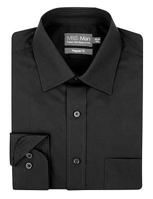 2in Longer Cotton Rich Easy to Iron Classic Collar Shirt, BLACK, catlanding