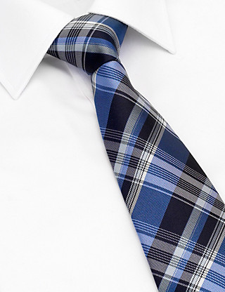 Pure Silk Checked Tie with Stain Resistance Clothing