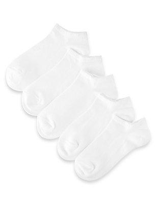 5 Pairs of Freshfeet™ Cotton Rich Trainer Liner Socks (5-14 Years), WHITE, catlanding