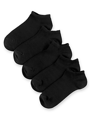 5 Pairs of Freshfeet™ Cotton Rich Trainer Liner Socks (5-14 Years), BLACK, catlanding
