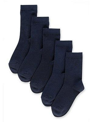 5 Pairs of Freshfeet™ Cotton Rich School Socks (5-14 Years), NAVY, catlanding