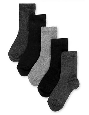 5 Pairs of Freshfeet™ Cotton Rich School Socks (5-14 Years), CLASSIC MIX, catlanding