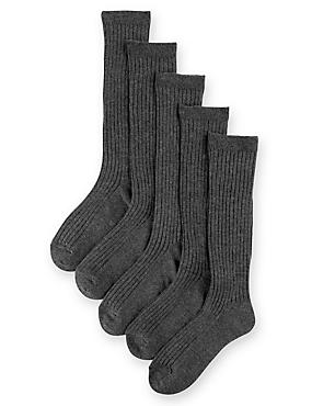 5 Pairs of Freshfeet™ Cotton Rich Long Ribbed School Socks (5-14 Years), GREY, catlanding