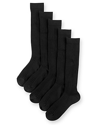 5 Pairs of Freshfeet™ Cotton Rich Long Ribbed School Socks (5-14 Years), BLACK, catlanding