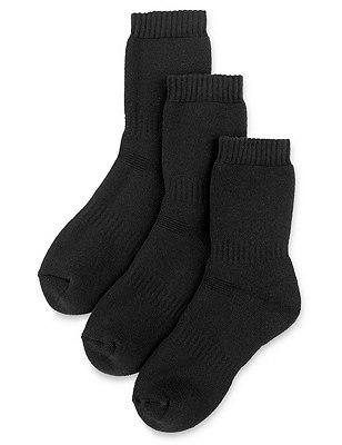 3 Pairs of Freshfeet™ Thermal School Socks with Silver Technology(5-14 Years), BLACK, catlanding