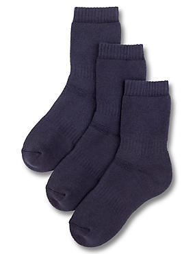 3 Pairs of Freshfeet™ Thermal School Socks with Modal (5-14 Years), NAVY, catlanding