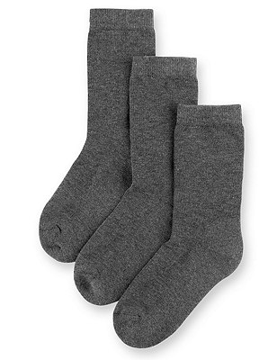 3 Pairs of Freshfeet™ Ultimate Comfort Socks with Modal & Silver Technology(5-14 Years), GREY, catlanding