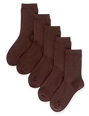 5 Pairs of Freshfeet™ Cotton Rich School Socks (5-14 Years), BROWN, catlanding