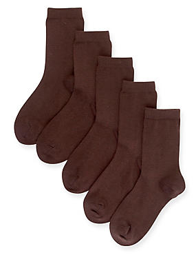 5 Pairs of Freshfeet™ Cotton Rich School Socks (5-14 Years), BROWN, catlanding