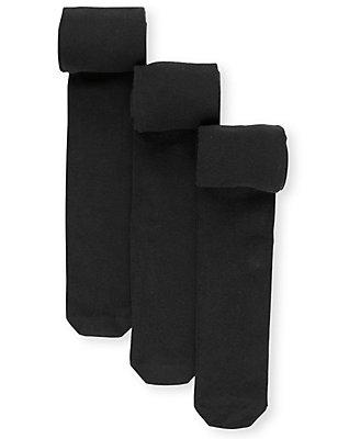 3 Freshfeet™-Strumpfhosen für die Schule mit hohem Baumwollanteil und Body Sensor™ (4–14 Jahre), SCHWARZ, catlanding
