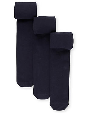 3 Pairs of Freshfeet™ Cotton Rich Body Sensor™ School Tights (4-14 Years), NAVY, catlanding