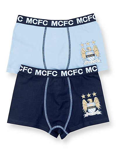 2 Pack Cotton Rich Manchester City Football Club Trunks Clothing