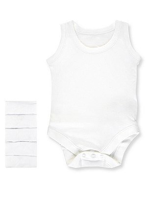 5 Pack Superfine Cotton Bodysuits, WHITE, catlanding