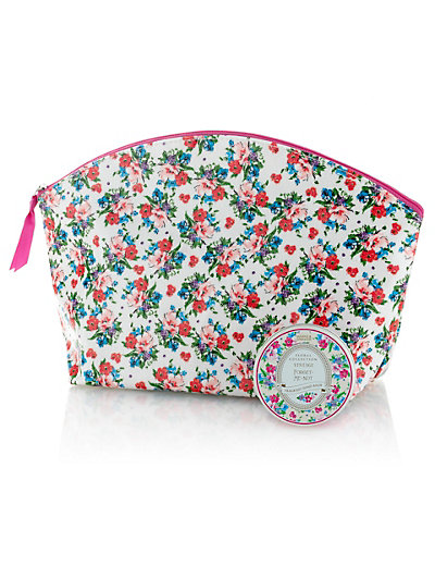 Vintage Inspired Forget-Me-Not Toiletry Bag Home