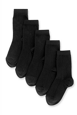 5 Pairs of Freshfeet™ Cotton Rich School Socks (5-14 Years), BLACK, catlanding