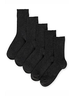 5 Pairs of Freshfeet™ Cotton Rich Ribbed School Socks (5-14 Years), BLACK, catlanding