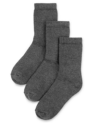 3 Pairs of Freshfeet™ Thermal School Socks with Modal & Silver Technology(5-14 Years), GREY, catlanding